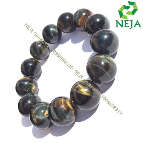 Vòng Tay Đá Mắt Hổ Xanh Đen 16 Ly- Vòng Tay Phong Thủy cho Nam mệnh Thủy - Mộc - NEJA Gemstones