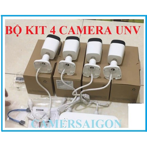 TRỌN BỘ KIT 4 Camera IP 2.0MP Full HD 1080P UNV PoE