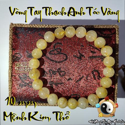 Vòng Tay Thạch Anh Tóc Vàng 10 li Tài Lộc May Mắn