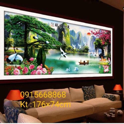 tranh thêu phong cảnh sơn thủy hữu tình tuyệt đẹp 237-101cm