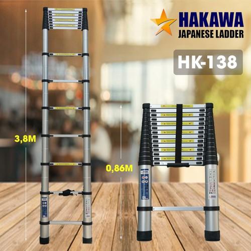 Thang nhôm rút 3m8- thang chính hãng Nhật bản HAKAWA HK138- Bảo hành 2 năm