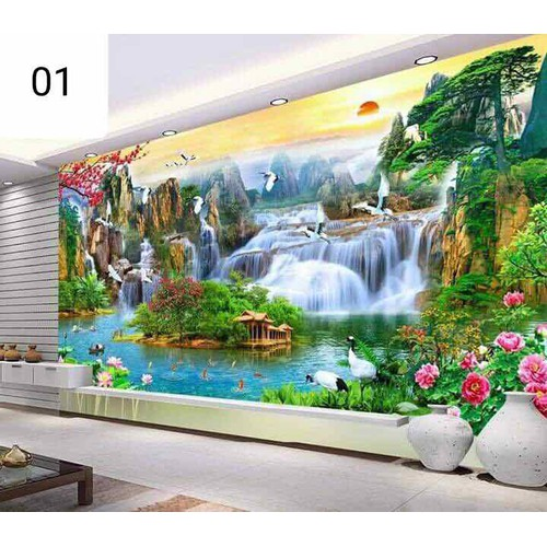 Tranh 3d cao cấp phong cảnh thiên nhiên trang trí phòng khách