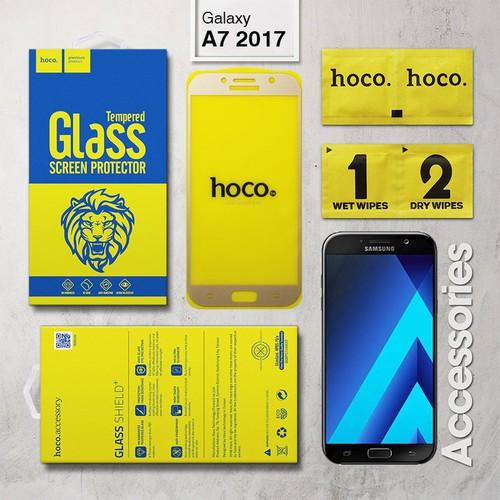 Kính cường lực Samsung Galaxy A7 2017 Full Keo Hoco vàng