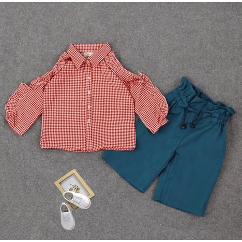 Set áo caro bèo quần ống rộng