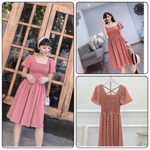Váy chấm bi đan dây V3034