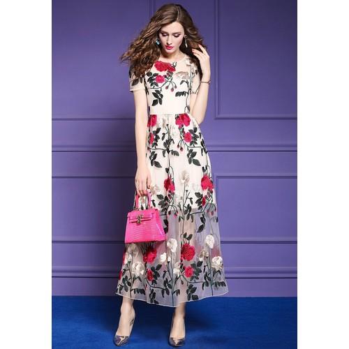 Đầm xòe ren thêu hoa dáng dài sang trọng