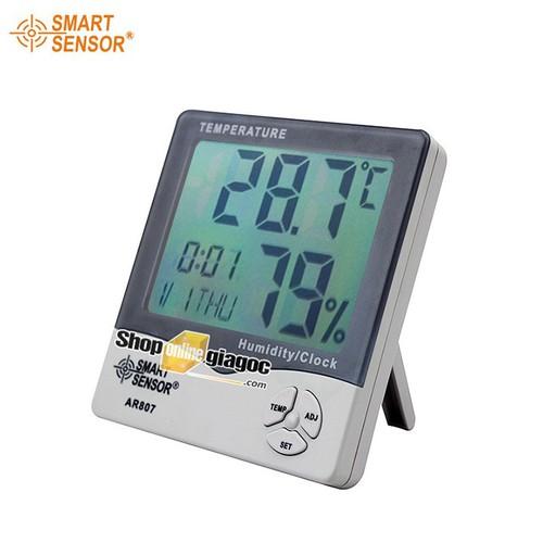 Nhiệt ẩm kế có đồng hồ báo thức smart sensor ar807