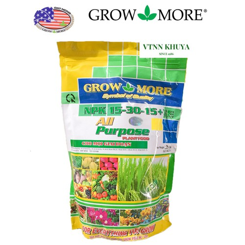 Phân bón lá growmore npk 15-30-15 + te 1kg dưỡng cây xanh lá