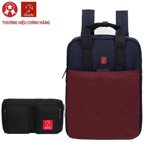 Combo balo thời trang glado commuter gco001 - màu đỏ và túi đeo chéo gex001