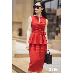 Đầm công sở peplum đỏ 2755