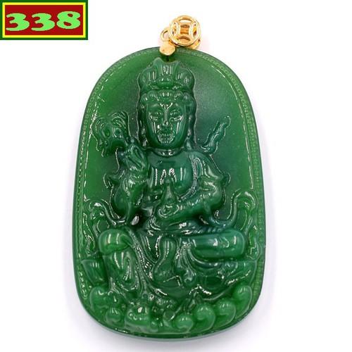 Mặt dây chuyền Phật Quan âm đá thạch anh xanh MQAXL2 - Mặt Phật đá phong thủy - Mặt Size lớn
