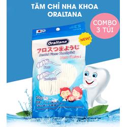Combo 3 Túi Tăm Chỉ Nha Khoa Oraltana 1 túi có 50 chiếc Sợi nilon, nhựa y tế, thơm giúp răng miệng sạch sẽ An toàn cho sức khỏe