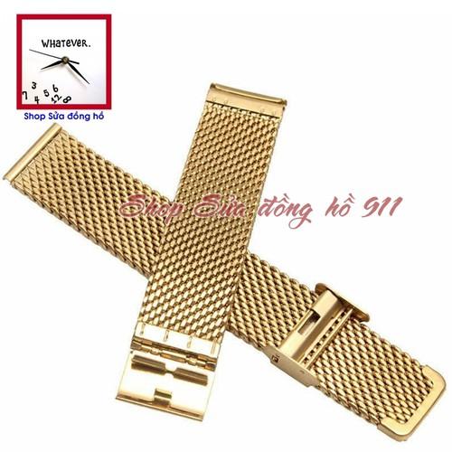 Dây kim loại đồng hồ kiểu lưới đan mắt to & dày. Màu Đen - Vàng Gold