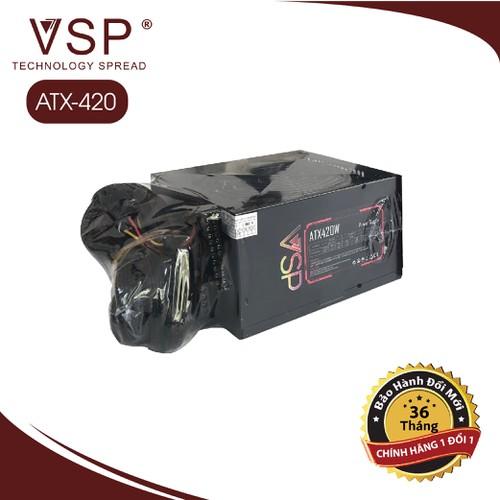 NGUỒN MÁY TÍNH VSP 420W fan 12cm led full box tặng dây nguồn - Bảo Hành Chính Hãng