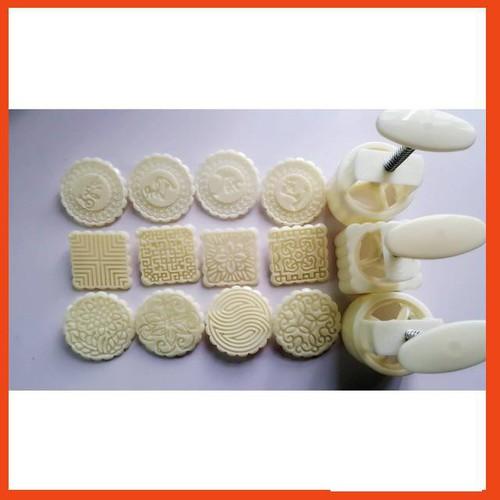 Combo 3 Bộ khuôn làm bánh trung thu lò xo 125g 4 mặt 3 3 3