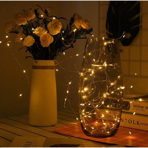Bộ 7 dây Đèn Led Đom Đóm Chipsbling Fairy Lights xài pin dài 5m,màu vàng nắng