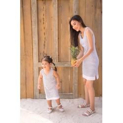 đầm sọc cotton mẹ bé gái
