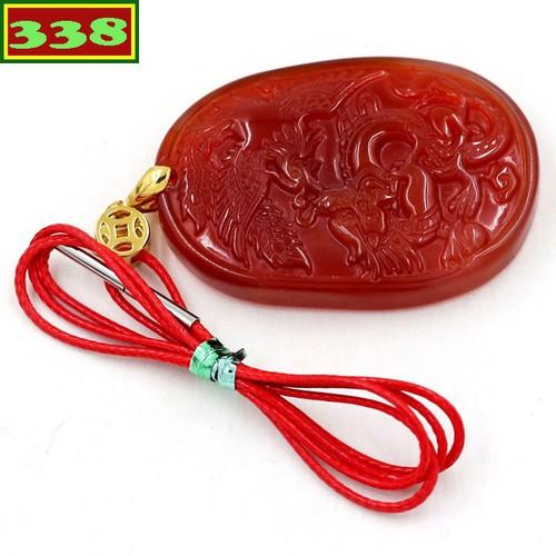Vòng cổ Ngọc bội Long phụng mã não đỏ DOLPMNO1 - Dây chuyền đá phong thủy - Mặt Size lớn