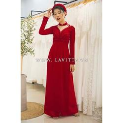 áo dài cưới đỏ tươi kết phale sắc sảo sang trọng