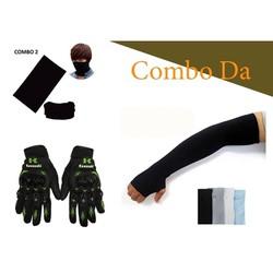 Combo gang tay full ngón tặng kèm khăn đa năng và ống tay mẫu ngẫu nhiên