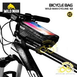 Túi treo khung sườn hộp cứng xe đạp Wild Man E2 có ngăn điện thoại