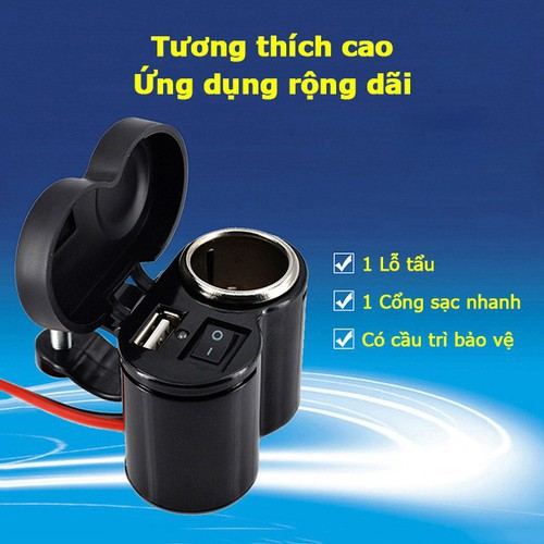 Bộ sạc điện thoại nhanh gắn trên xe máy ác quy có tẩu trống nước - 11764895 , 19108811 , 15_19108811 , 89000 , Bo-sac-dien-thoai-nhanh-gan-tren-xe-may-ac-quy-co-tau-trong-nuoc-15_19108811 , sendo.vn , Bộ sạc điện thoại nhanh gắn trên xe máy ác quy có tẩu trống nước