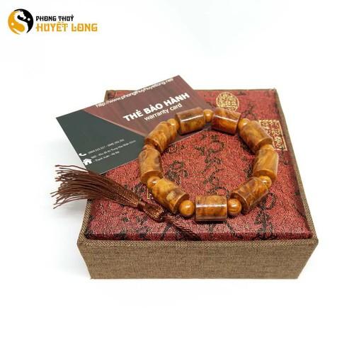 Vòng tay gỗ Nu Huyết Long đốt trúc 12mm vòng tay gỗ phong thủy may mắn tài lộc