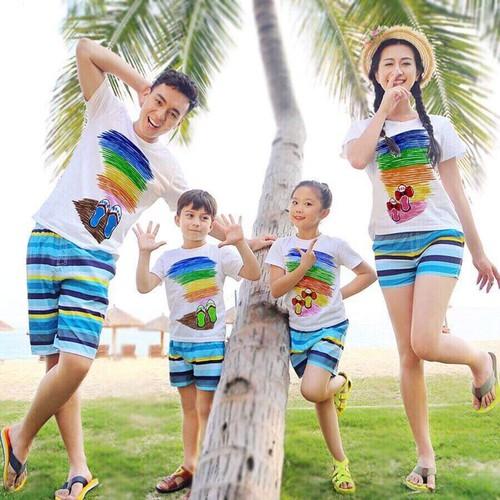 set áo gia đình 4 áo đi biển
