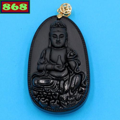 Mặt dây chuyền Phật Quan âm đá thạch anh đen MQAKBE6