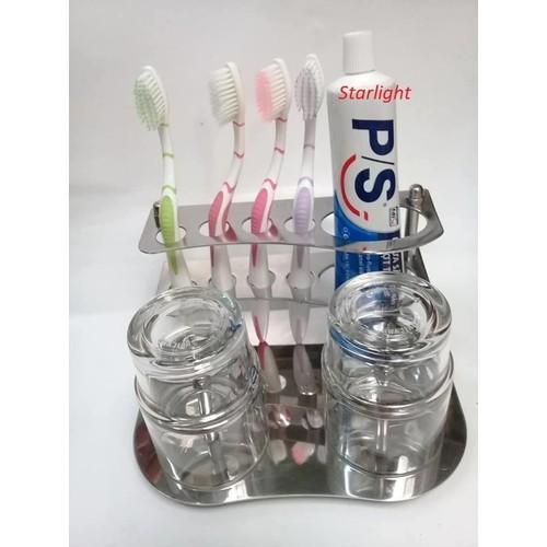 Kệ Để Bàn Chải Đánh Răng Và Cốc INOX
