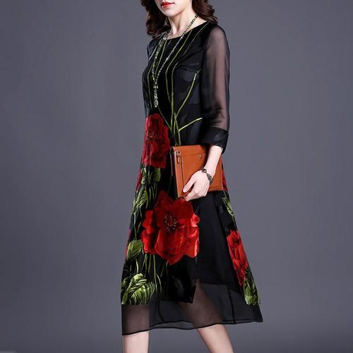 Đầm suông nữ họa tiết hoa hồng 9d5194