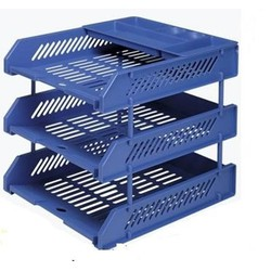 Khay 3 tầng nhựa Sunwood - màu xanh + ghi