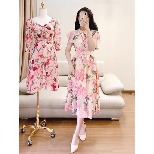 Đầm xòe hoa tay bèo 3d