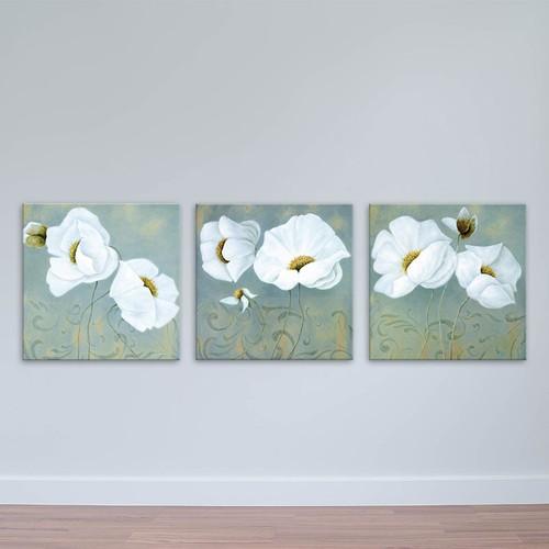 Bộ 3 tranh hoa mỹ nhân trắng | Tranh treo tường đẹp W1771