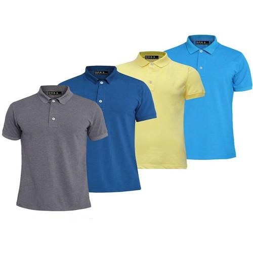 Bộ 4 áo thun nam cotton cao cấp- Xám đậm, Xanh dương, Vàng, Thiên thanh
