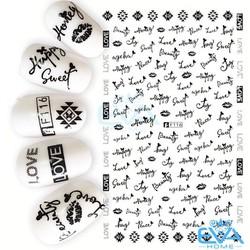 Miếng Dán Móng Tay 3D Nail Sticker Tráng Trí Hoa Văn Hoạ Tiết Chữ Viết Alphabet F116