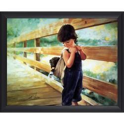 Tranh in sơn dầu VTC Bé trai và cún con LunaCV-0023K kt 60 x 50 cm