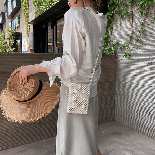 Túi đeo chéo đính hạt giả ngọc trai thanh lịch cho nữ