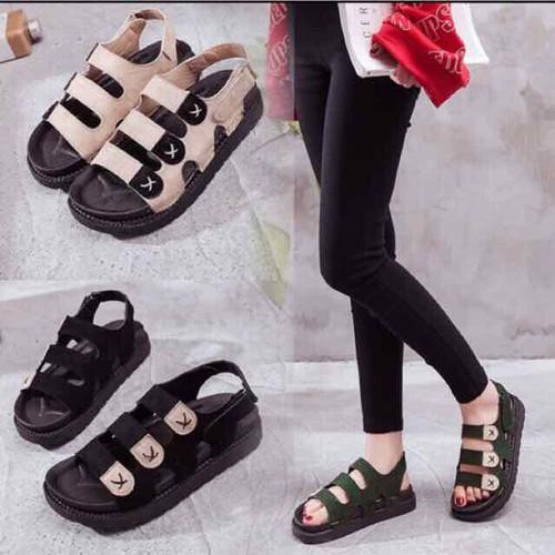 Giày sandal đế bánh mì 3 quai ngang chữ x