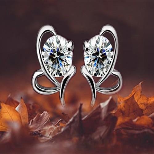 Bông tai nữ hồ điệp đính đá cao cấp khuyên tai cánh bướm xinh xắn joy bt63