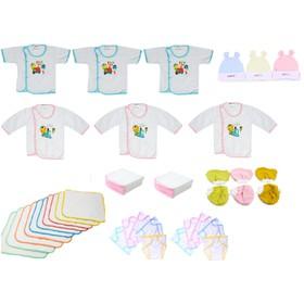 Set 45 món đồ cho bé sơ sinh(3 áo dài tay bsi trắng+ 3 ngắn tay + 3 nón + 3 căp bao tay + 3 cặp bao chân + 10 khăn + 10 tã đóng bỉm + 10 tã lót. - 45mon