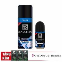 Combo Romano Force xịt khử mùi toàn thân cho nam 150ml và lăn khử mùi 50ml tặng kèm 5 gói dầu gội