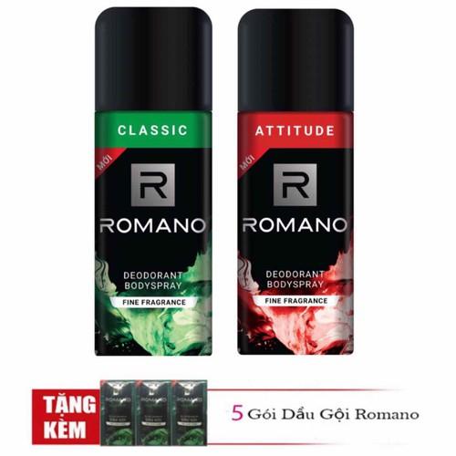 Combo 2 chai xịt khử mùi toàn thân cho nam Romano Classic và Attitude 150ml x2 tặng kèm 5 gói dầu gội - 11823441 , 19200506 , 15_19200506 , 190000 , Combo-2-chai-xit-khu-mui-toan-than-cho-nam-Romano-Classic-va-Attitude-150ml-x2-tang-kem-5-goi-dau-goi-15_19200506 , sendo.vn , Combo 2 chai xịt khử mùi toàn thân cho nam Romano Classic và Attitude 150ml x2