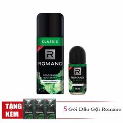 Combo Romano Classic xịt khử mùi toàn thân cho nam 150ml và lăn khử mùi 50ml tặng kèm 5 gói dầu gội