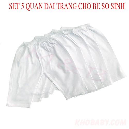Quần sơ sinh,sét 5 quần dài trắng cho bé sơ sinh
