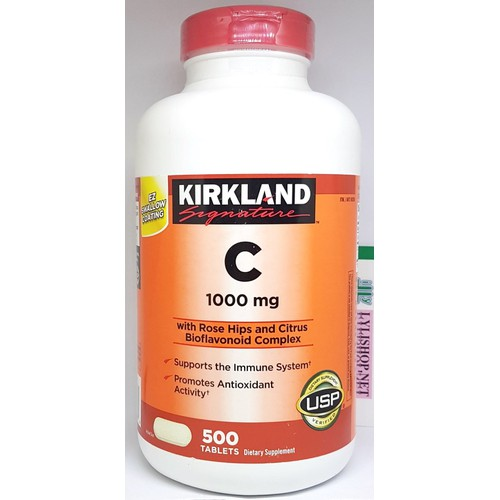 Viên Uống Bổ Sung Vitamin C 1000 mg chai 500 viên hãng Kirkland từ Mỹ