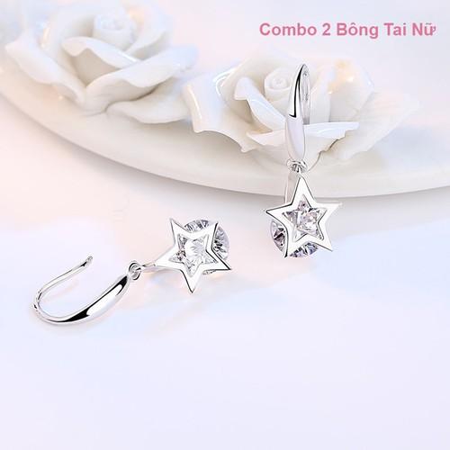 Combo 2 bông tai khuyên tai nữ ngôi sao may mắn s925 nạm đá zircon lấp lánh joy cbbt59