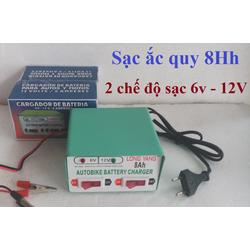 Bộ sạc bình ắc quy khô xe máy 2 chế độ 6V và 12V - 8Ah