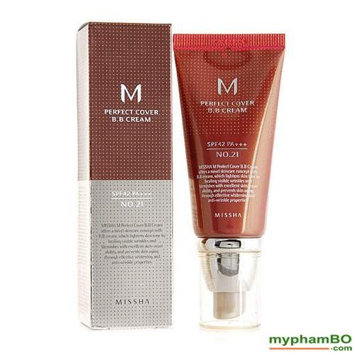 Kem nền missha- missha m perfect cover bb cream spf42 pa+++ màu 21- màu be sáng