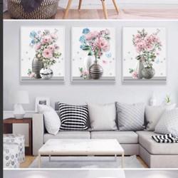 tranh đính đá bình hoa ba bức tuyệt đẹp 120-50cm